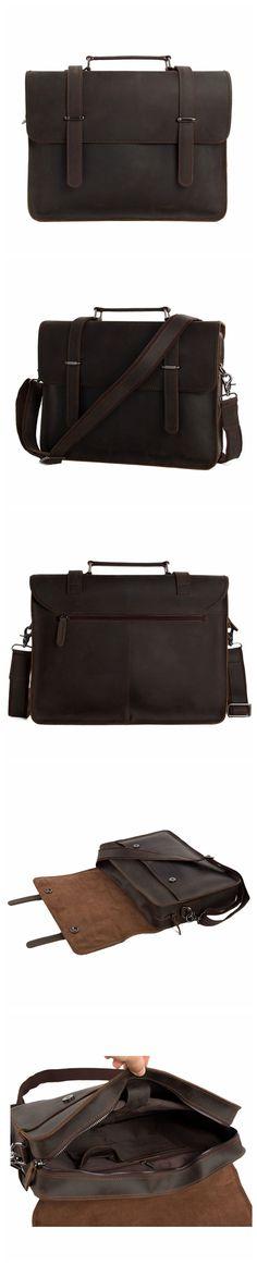 ROCKCOW Vintage Crazy Horse Leather Briefcase Men Messenger Bag Laptop Bag