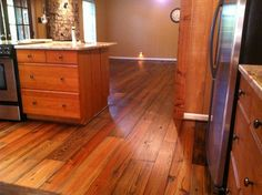 Pre-Finished Old Dirty Goat flooring makes a great addition to a #kitchen/#diningroom adding style and flair to your space! #pineflooring