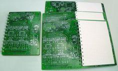 "Upcycled Notebook ""Leiterplatte"" (Conductor Board) (large) by TRASH DESIGN | SOURCE: http://www.trashdesign.at/accessoires/schluesselanhaenger/notizbuch-leiterplatte/a-137/"