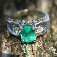 1.62tcw Colombian Emerald & Diamond Engagement Ring 14k