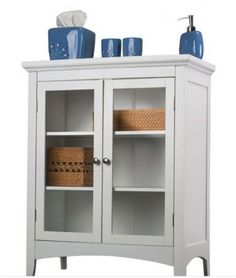 Traditional Two Door Floor Cabinet Bathroom Furniture White Finish With  Storage