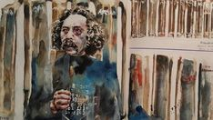 An earlier image of artist Ralph Hotere by Tyler Kennedy Stent. Watercolour, Shapes, Artist, Painting, Image, Pen And Wash, Watercolor Painting, Watercolor, Artists