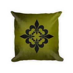 Quatre Fleur de Lis Cotton Poly Throw Pillow