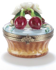 Rochard Cherries On Basket Limoges Box