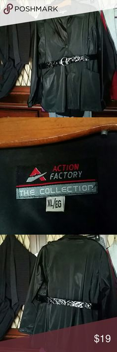 """Short Raincoat PVC shell with patent """"quilted"""" belt, zips, pockets Action Factory The Collection  Jackets & Coats"""