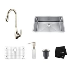 Kraus Kitchen Combo 18-in x 30-in Stainless Steel Single-Basin Undermount Residential Kitchen Sink All-In-One Kit$480
