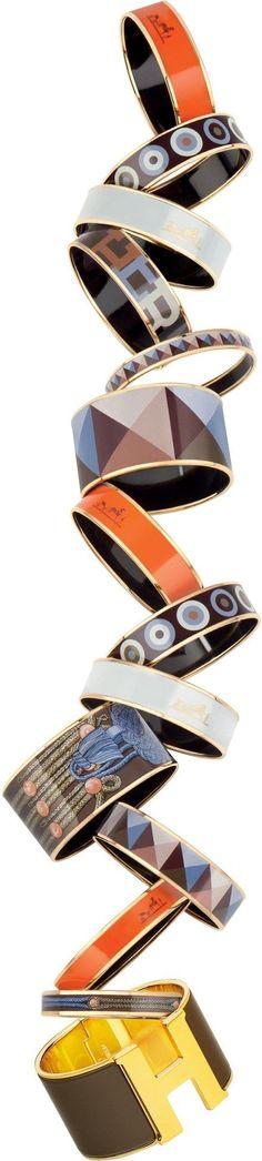 So many Hermes enamel bracelets, I want them all! via parismonami.com