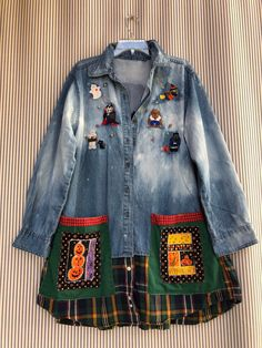 Excited to share this item from my shop: upcycled jacket , halloween distressed denim patchwork and embroidered shirt, wearable art denim shirt Shirt Jacket, Jacket Dress, Shirt Skirt, Eco Clothing, Upcycled Clothing, Altered Couture, Denim Patchwork, Recycled Denim, Distressed Denim