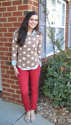 polka dots and chambray with a pop of color