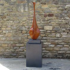 Nucleus Sculpture on Pedestal - Contemporary Garden Statue. Buy now at http://www.statuesandsculptures.co.uk/nucleus-sculpture-on-pedestal-contemporary-garden-statue