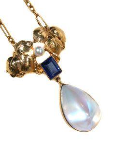 Art Nouveau Moonstone & Sapphire Pendant Necklace - Probably American  c. 1900
