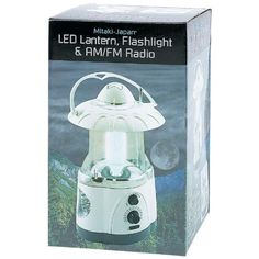 "Lantern/flashlight/ Radio - Style ELANTR. Requires 3 D batteries (not included). Gift boxed. Lantern/flashlight/ Radio. Measures 5-1/2"" x 9"" x 5-1/2"". Whether you need a check of the weather or you wish to liven up the atmosphere of your outdoor gathering, this lantern provides AM/FM radio in addition to a radiant glow of light. Features 12-bulb LED lantern, 4-bulb LED flashlight and AM/FM radio with controls on the front."