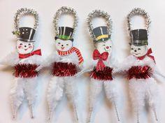 SNOWMAN Christmas set of 4 vintage style by StanleyAndStewart, $15.00