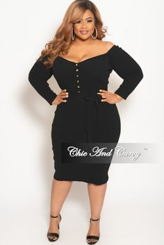 4dbd4fe88bb04 Plus Size Off the Shoulder Button Up BodyCon Dress in Black – Chic And Curvy