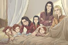 Maedhros being woken up by his younger brothers. Even Elves back then had this problem...