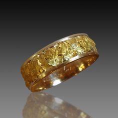 Natural Gold Nugget & Yellow Gold Men's Wedding Band.
