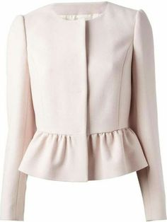 Red valentino Collarless Peplum Jacket in Pink (pink & purple) Collarless Jacket, Peplum Jacket, Pink Jacket, Peplum Blazer, Blouse Styles, Blouse Designs, Hijab Fashion, Fashion Dresses, Women's Fashion