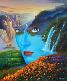 the New Mother Nature-Jim Warren Jim Warren, Mirror Illusion, Surreal Art, Mother Nature, Illusions, Art Drawings, Abstract Art, Illustration Art, Fine Art