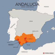 "[Map] ""Sherry Wine Region – Andalucía"" Jul-2014 by Winefolly.com"