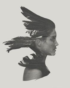 Untamed - Surreal Fine Art Photography Bird Crow Raven Feather Silhouette Girl Woman Black White Portrait by KateMaldonado on Etsy https://www.etsy.com/listing/194867064/untamed-surreal-fine-art-photography