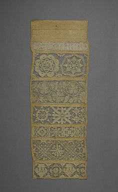 Sampler, 1644, English,  The  Metropolitan Museum of Art. This is called Openwork, was particularly popular in this period as a type of lacemaking.