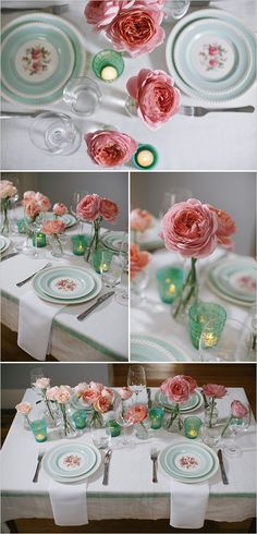Rose tablescape with turquoise and pink. Event Design: Blue Jar Events ---> http://www.weddingchicks.com/2014/05/28/3-garden-rose-diys-youll-love-from-blue-jar-events/