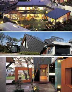 This dynamic house design is all kinds of awesome - that is: if you can get past the dizzying angles that confront you at nearly every corner, uncanny material transitions and incredible structural intersections both inside and out. Metal, concrete, wood and stone - you name it and the material  ...