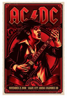 Rare Mini Print/Poster - Size: A4 (Approximately: 21 cm x 29.7 cm) 8.27 inches x 11.7 inches. Bon Scott, Angus Young, Gig Poster, Print Poster, Tour Posters, Band Posters, Blues Rock, Ac Dc, Rock Vintage