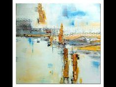 Abstrakte Acrylmalerei,Tutorial, Spachteln ,Collage - YouTube
