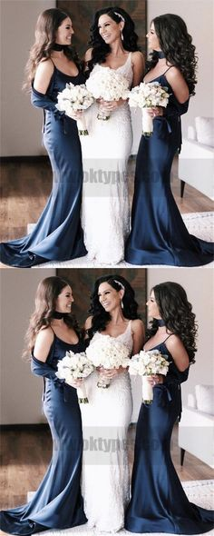 Mermaid Spaghetti Straps Cold Shoulder Navy Blue Bridesmaid Dresses 7faac304d2da