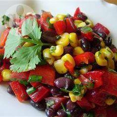 Black Bean and Corn Salad II. another yummy bean salad. Mexican Food Recipes, Vegetarian Recipes, Cooking Recipes, Healthy Recipes, Cooking Games, Vegan Vegetarian, Black Bean Corn Salad, Corn Salads, Vegetarian