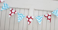 Red and Aqua Fabric Banner Dr. Seuss Birthday Wedding by LoveSews