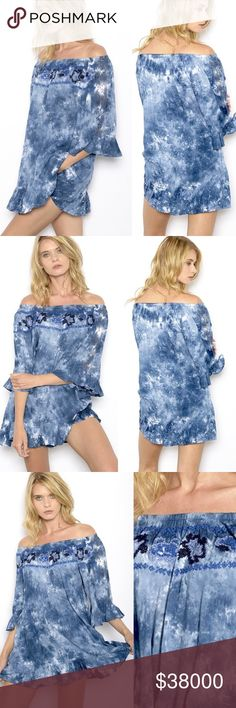 🏈WEEKEND SALE🏈OFF THE SHOULDER TUNIC SHIRT/DRESS Flutter sleeve. Embroidered front. Denim blue and white tie dye. Ruffled hem. Tops Blouses