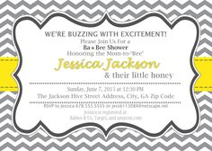A personal favorite from my Etsy shop https://www.etsy.com/listing/230694577/bee-baby-shower-invitation