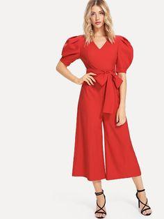 TOGIC Unique Flare Sleeve Wrap Polka Dot Jumpsuit V Neck Half Sleeve Jumpsuit Women Jumpsuit