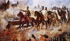 El Oberst (Coronel) József Simonyi conduce a sus hombres del 4º de Húsares a través de un puente en llamas sobre el río Thaya después de Wagram en 1809. Cubrió la retirada del derrotado ejército austríaco con un puñado de hombres (un batallón de infantería, una compañía de zapadores, seis cañones y dos escuadrones de húsares del 4º regimiento) y consiguió contener a una columna francesa de 30.000 hombres. Hizo pasar a sus húsares por el puente en llamas, atacó a la vanguardia francesa, y…