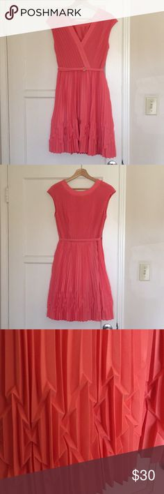 TED BAKER dress Beautiful Coral (like pink and orange combined) colored dress with intricate pleating and adjustable skinny belt with gold metal accent, v-neckline is flattering but not showy, wore once to a wedding. Ted Baker Dresses