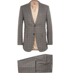 Alfred DunhillGrey Slim-Fit Windowpane-Check Wool Suit