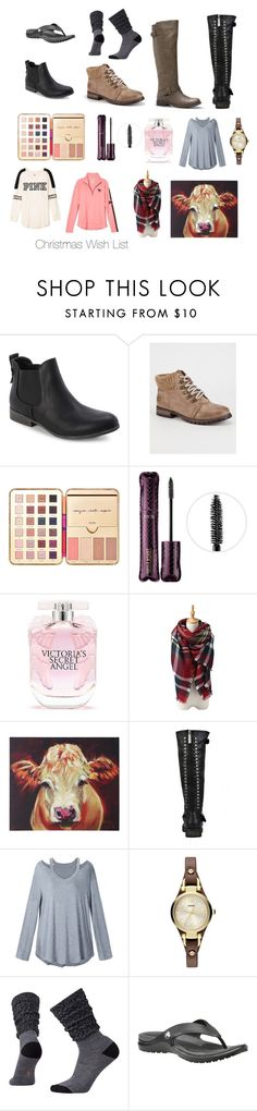 """Christmas wishlist"" by puppylove7 ❤ liked on Polyvore featuring Madden Girl, Dirty Laundry, tarte, Victoria's Secret, Home Decorators Collection and FOSSIL"