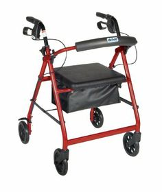 """Drive Medical Aluminum Rollator with Fold Up and Removable Back Support, Padded Seat, 6"""" Casters with Loop Locks, Red by Drive Medical. $71.99. Soft-grip tires, ideal for indoor and outdoor use. Removable, hinged, padded backrest that can be folded up or down as necessary. Comes with padded seat with zippered pouch under seat; handles are adjustable in height. Limited Lifetime Warranty. Comes standard with carry pouch optional basket. Drive Medical Rollator with Fold ..."""