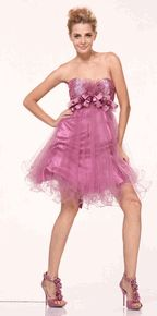 #1805cin--Shimmering Bodice Sweetheart Neckline Empire Waist Short Prom Dress(2 Colors--Size 4 to 12)