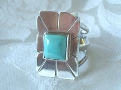 Vintage Turquoise and Sterling Silver Ring Large by AstrasShadow, $115.00