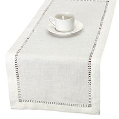 100% Pure Linen Handmade Hemstitched White Lace Table Runners, Rectangle 14x84 inch