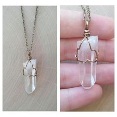 Wire Wrapped Arkansas Quartz Crystal Necklace
