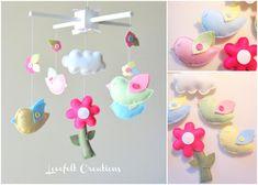 Baby Mobile - Custom Baby Mobile - Bird Mobile - Bird Cloud Mobile - Baby Girl Mobile - Molly Bedding