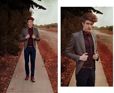 Zara Burgundy Leather Shoes, Vintage Bowtie, Foulard, H&M Elasticited Shirt, H&M Cheviot Blazer, Zara Leather Belt, H&M Cotton Trousers