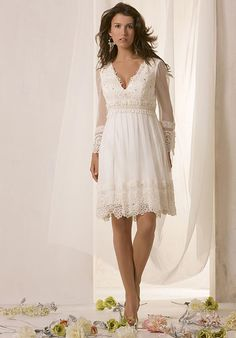Great Baby Doll Empire V Neck Knee Length Organic Silk Chiffon Beading Lace Wedding Dress Style For Rehearsal Dinner