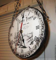 Декупаж в стиле винтаж часы