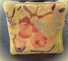 Dreamy Vintage 1970s Needlepoint Butterfly Pillow. $14.00, via Etsy.
