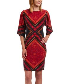 Look at this London Times Orange & Red Baroque Dress on #zulily today!